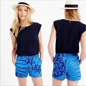 J Crew Blue Tropical Linen Shorts Sz Us 6 AU 10